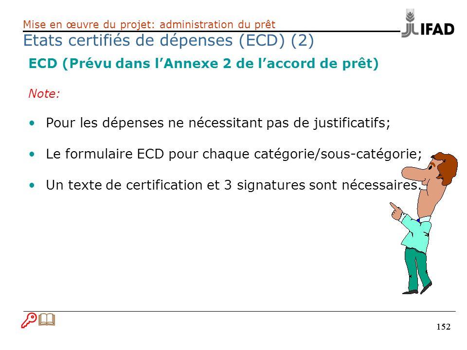 152 ECD (Prévu dans lAnnexe 2 de laccord de prêt) Note: Pour les dépenses ne nécessitant pas de justificatifs; Le formulaire ECD pour chaque catégorie