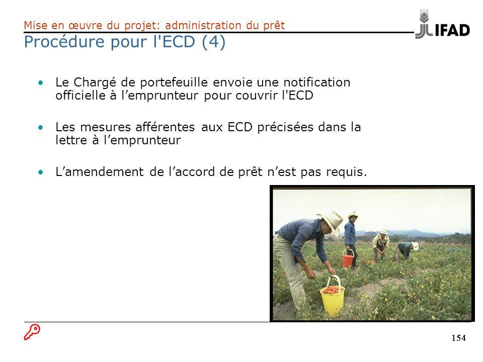 154 Le Chargé de portefeuille envoie une notification officielle à lemprunteur pour couvrir l'ECD Les mesures afférentes aux ECD précisées dans la let