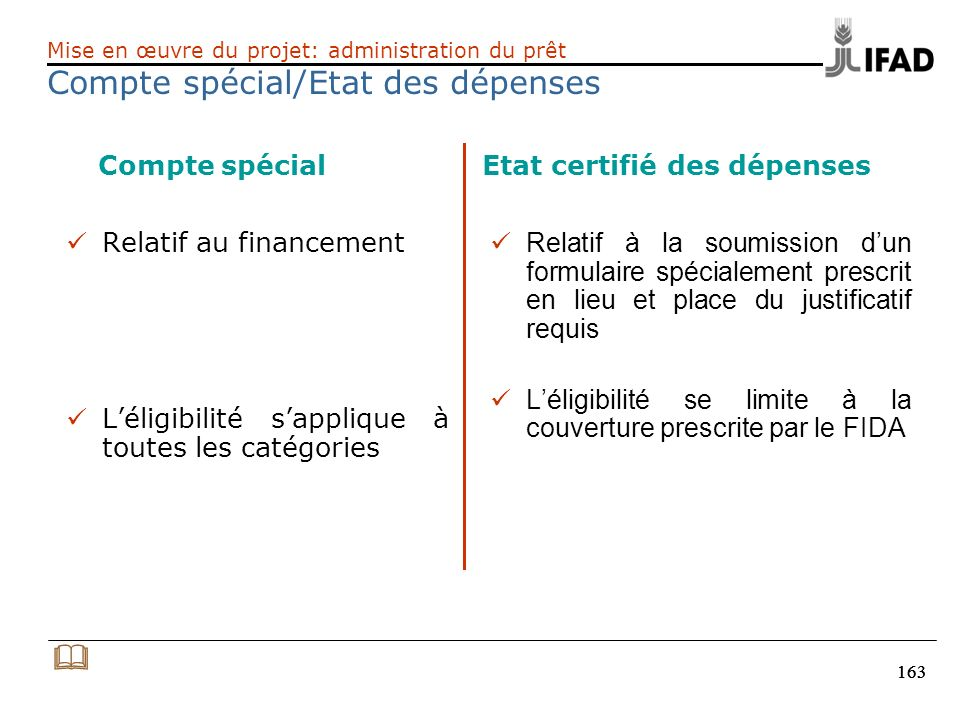 163 Compte spécial Etat certifié des dépenses Relatif au financement Léligibilité sapplique à toutes les catégories Relatif à la soumission dun formul