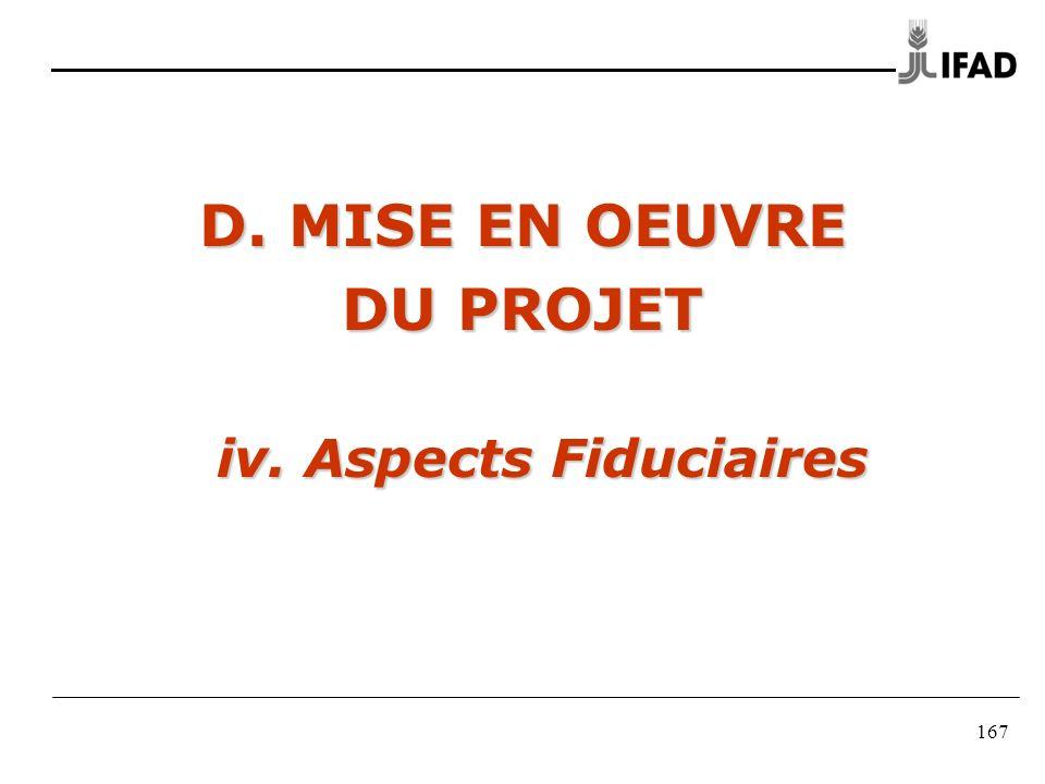167 D. MISE EN OEUVRE DU PROJET iv. Aspects Fiduciaires