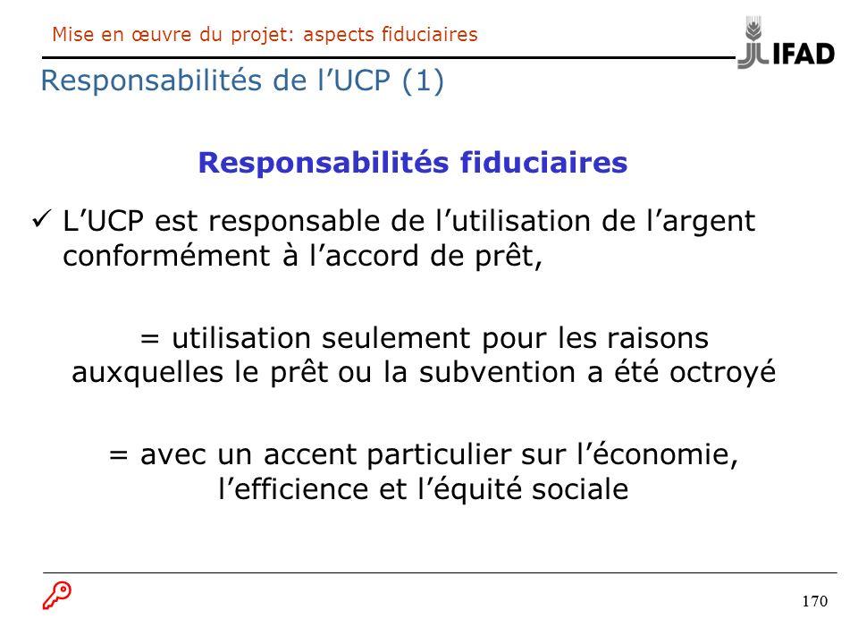170 Mise en œuvre du projet: aspects fiduciaires Responsabilités de lUCP (1) Responsabilités fiduciaires LUCP est responsable de lutilisation de large