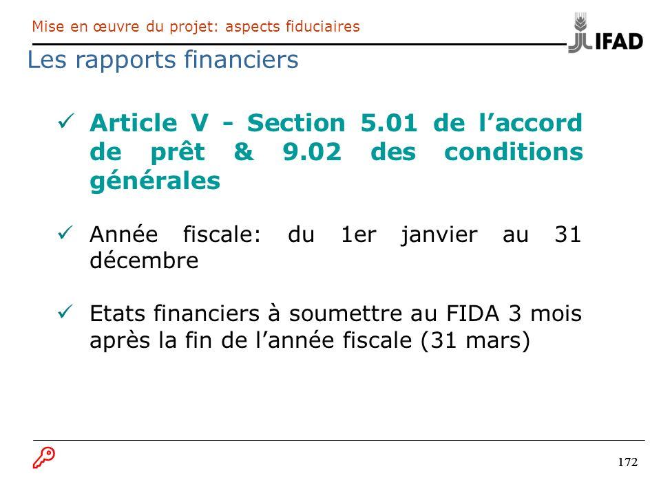 172 Article V - Section 5.01 de laccord de prêt & 9.02 des conditions générales Année fiscale: du 1er janvier au 31 décembre Etats financiers à soumet
