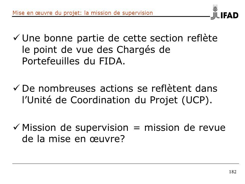 182 Mise en œuvre du projet: la mission de supervision Une bonne partie de cette section reflète le point de vue des Chargés de Portefeuilles du FIDA.