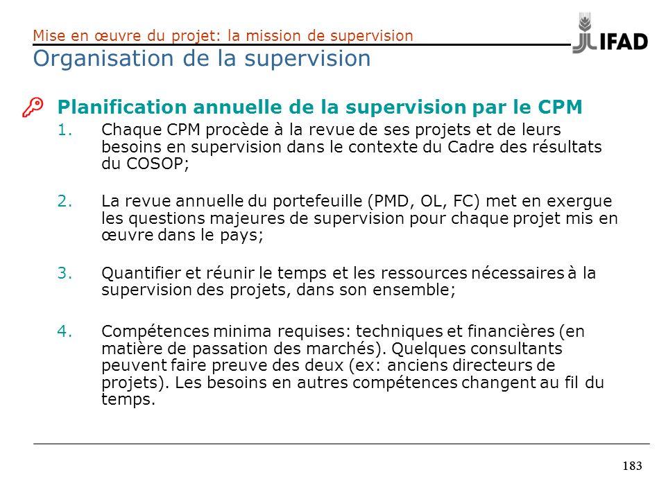 183 Planification annuelle de la supervision par le CPM 1.Chaque CPM procède à la revue de ses projets et de leurs besoins en supervision dans le cont