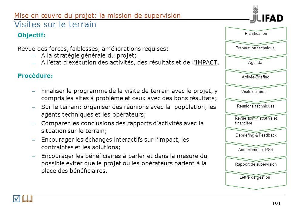 191 Objectif: Revue des forces, faiblesses, améliorations requises: – A la stratégie générale du projet; – A létat dexécution des activités, des résul