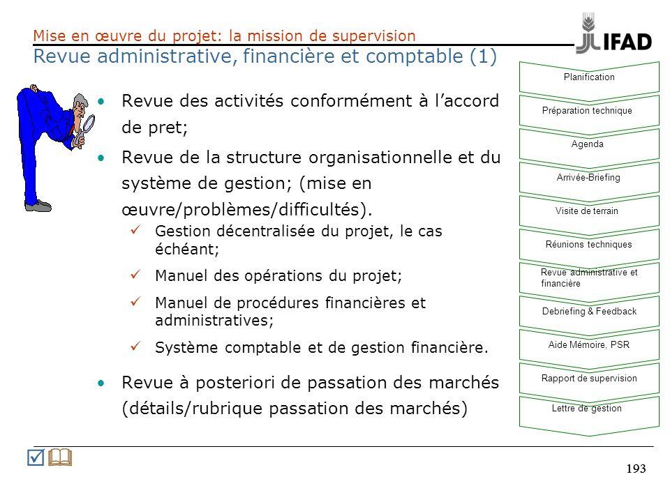 193 Revue des activités conformément à laccord de pret; Revue de la structure organisationnelle et du système de gestion; (mise en œuvre/problèmes/dif