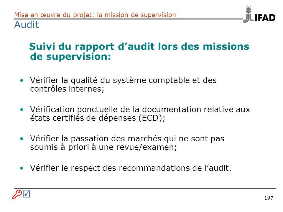197 Suivi du rapport daudit lors des missions de supervision: Vérifier la qualité du système comptable et des contrôles internes; Vérification ponctue