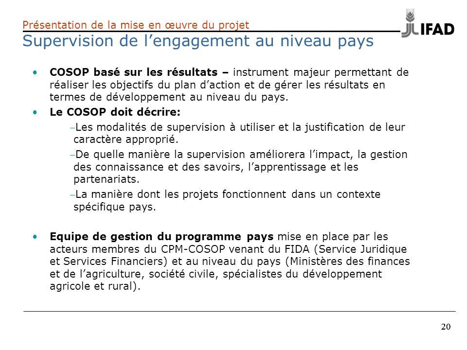 20 Présentation de la mise en œuvre du projet Supervision de lengagement au niveau pays COSOP basé sur les résultats – instrument majeur permettant de