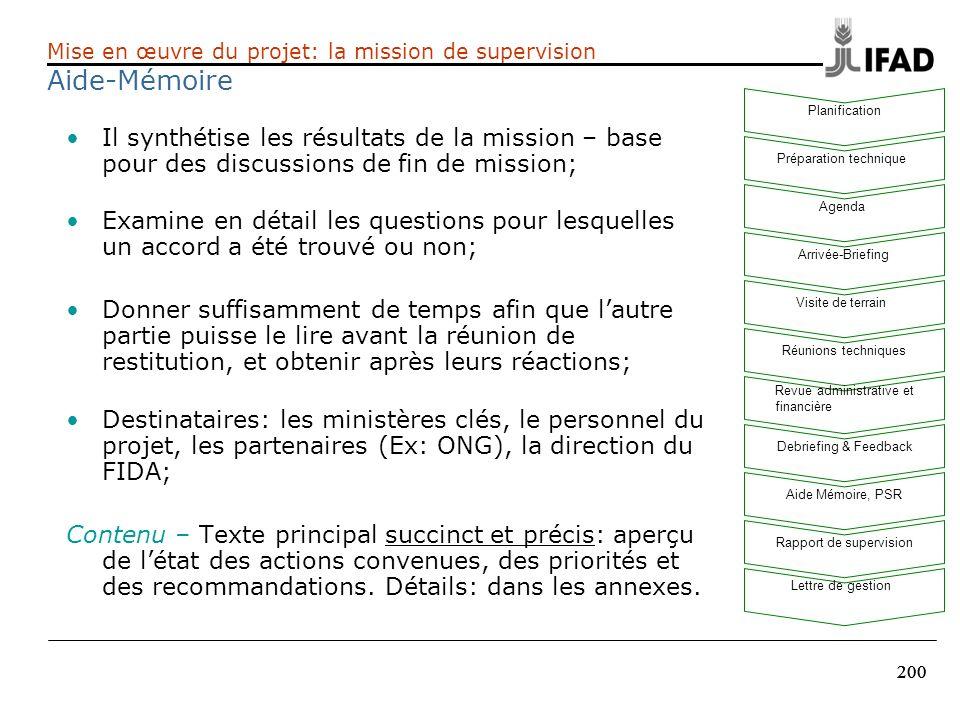 200 Il synthétise les résultats de la mission – base pour des discussions de fin de mission; Examine en détail les questions pour lesquelles un accord