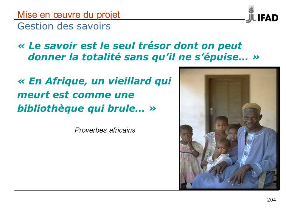 204 Mise en œuvre du projet Gestion des savoirs « Le savoir est le seul trésor dont on peut donner la totalité sans quil ne sépuise… » « En Afrique, u