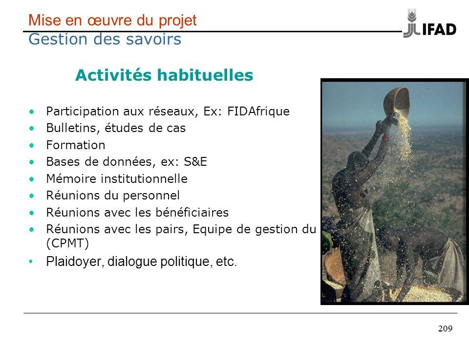 209 Mise en œuvre du projet Gestion des savoirs Activités habituelles Participation aux réseaux, Ex: FIDAfrique Bulletins, études de cas Formation Bas