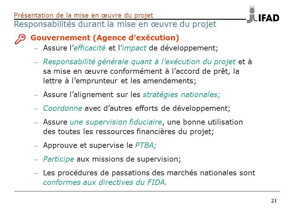 21 Présentation de la mise en œuvre du projet Responsabilités durant la mise en œuvre du projet Gouvernement (Agence dexécution) – Assure lefficacité