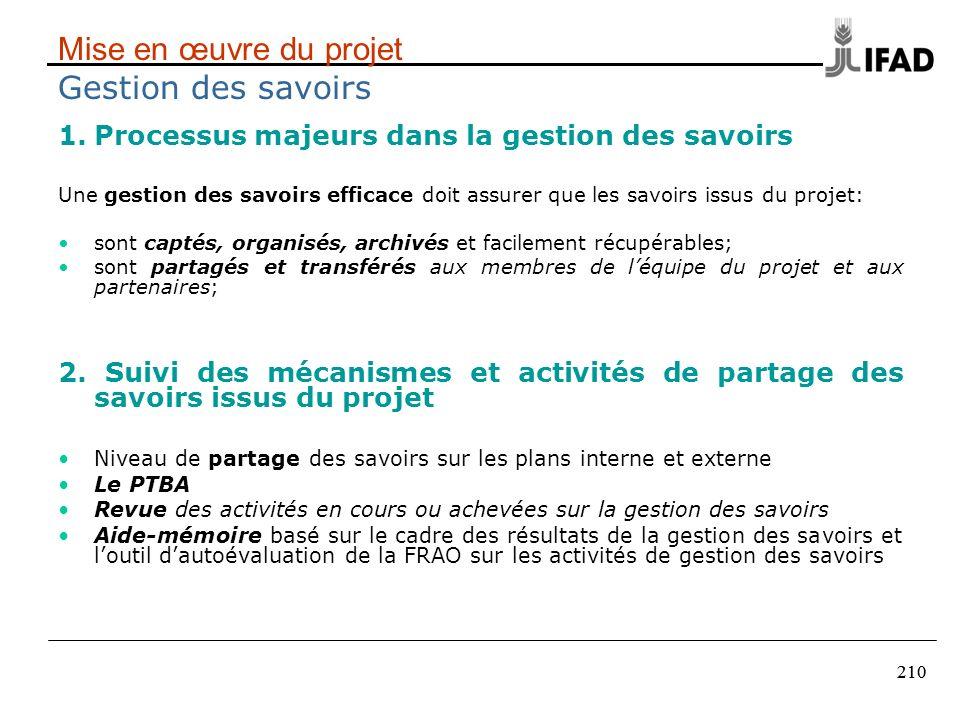 210 Mise en œuvre du projet Gestion des savoirs 1.Processus majeurs dans la gestion des savoirs Une gestion des savoirs efficace doit assurer que les