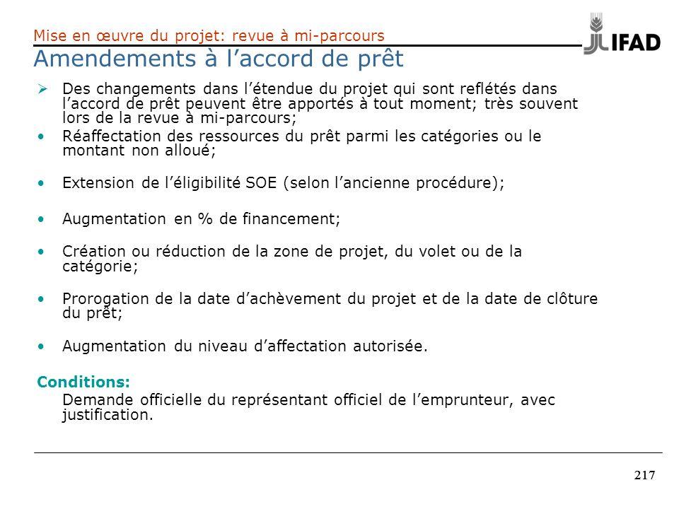 217 Des changements dans létendue du projet qui sont reflétés dans laccord de prêt peuvent être apportés à tout moment; très souvent lors de la revue