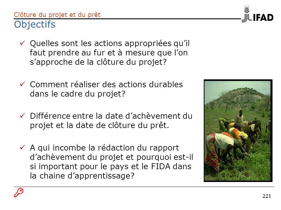 221 Quelles sont les actions appropriées quil faut prendre au fur et à mesure que lon sapproche de la clôture du projet? Comment réaliser des actions