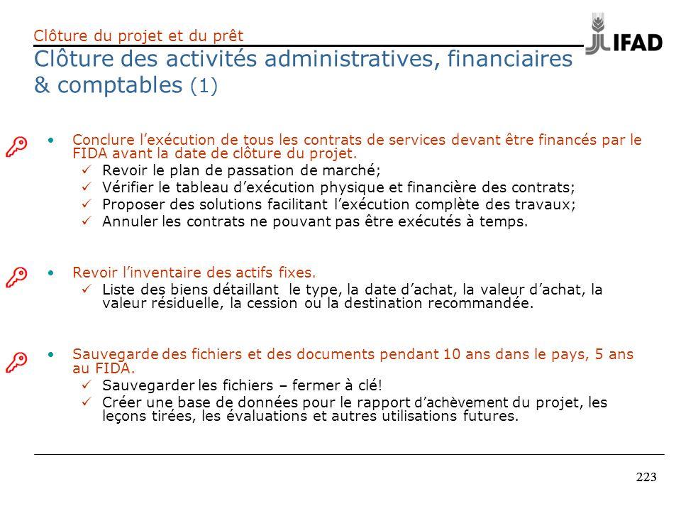 223 Conclure lexécution de tous les contrats de services devant être financés par le FIDA avant la date de clôture du projet. Revoir le plan de passat
