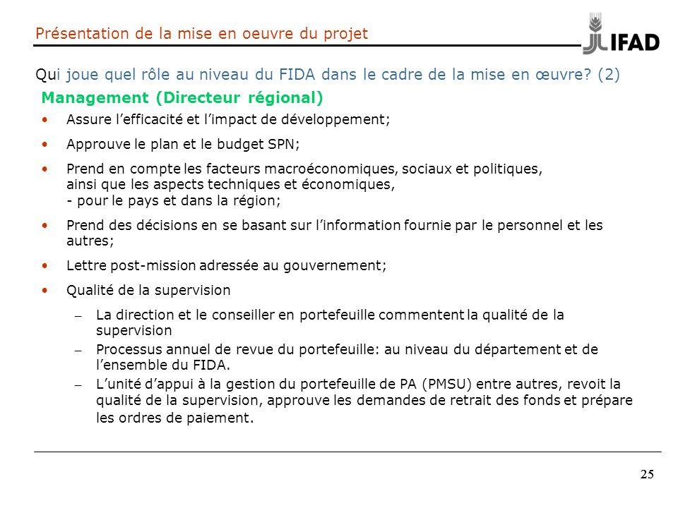 25 Présentation de la mise en oeuvre du projet Qui joue quel rôle au niveau du FIDA dans le cadre de la mise en œuvre? (2) Management (Directeur régio