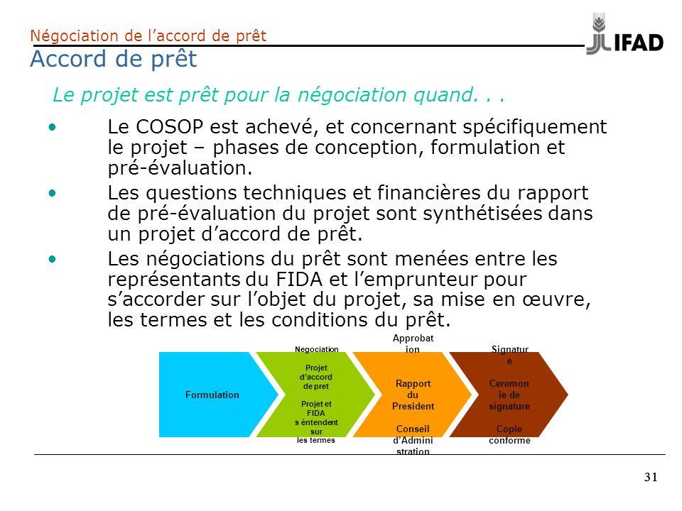 31 Négociation de laccord de prêt Accord de prêt Le COSOP est achevé, et concernant spécifiquement le projet – phases de conception, formulation et pr