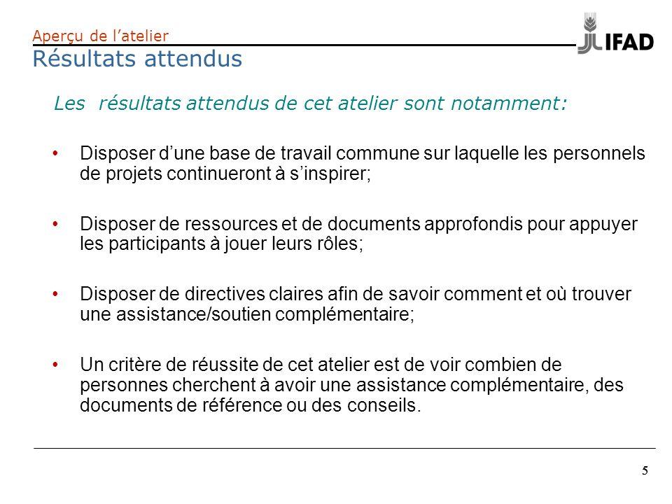 16 Amélioration des résultats dans le cadre de la supervision du FIDA Renforcement du dialogue avec les principaux acteurs au niveau pays; Prise en compte des préoccupations prioritaires du FIDA; Création dun lien dapprentissage entre la mise en œuvre et la formulation dun projet.