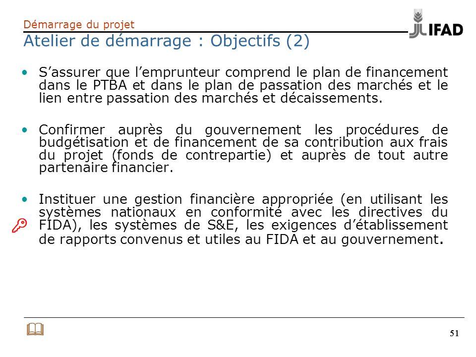 51 Sassurer que lemprunteur comprend le plan de financement dans le PTBA et dans le plan de passation des marchés et le lien entre passation des march