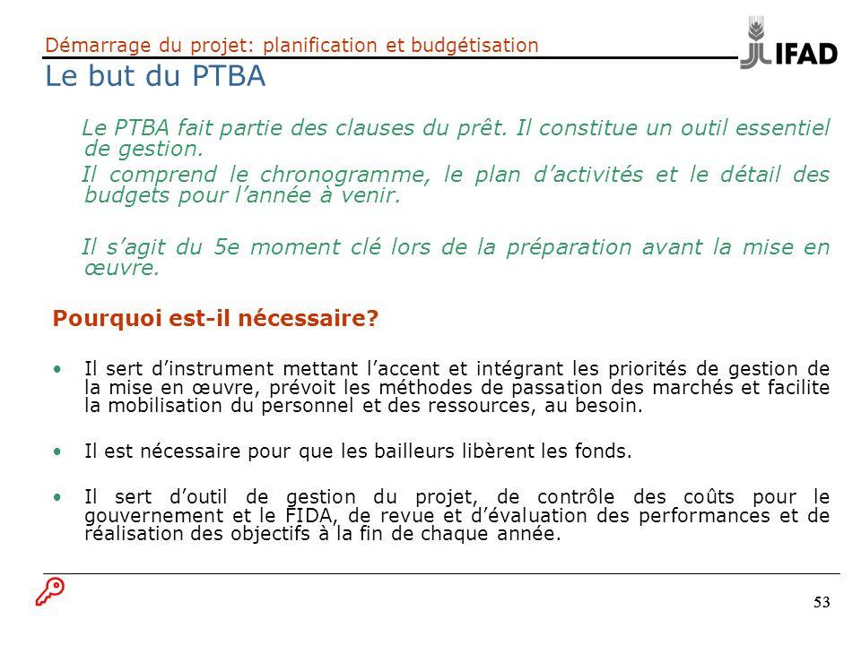 53 Démarrage du projet: planification et budgétisation Le but du PTBA Le PTBA fait partie des clauses du prêt. Il constitue un outil essentiel de gest