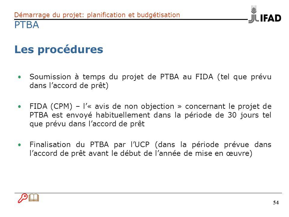 54 Démarrage du projet: planification et budgétisation PTBA Les procédures Soumission à temps du projet de PTBA au FIDA (tel que prévu dans laccord de