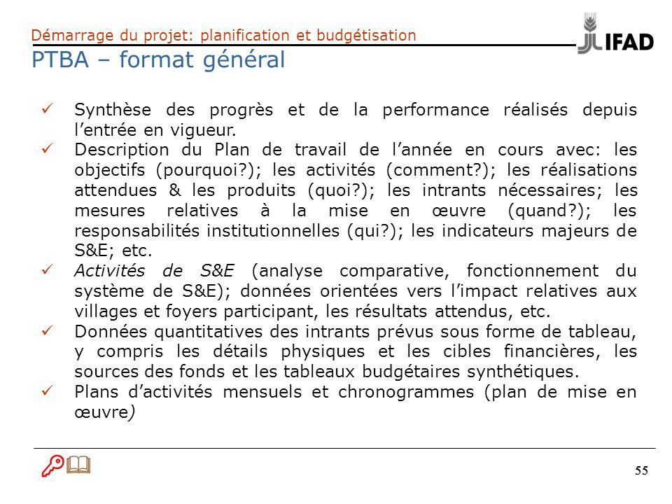 55 Démarrage du projet: planification et budgétisation PTBA – format général Synthèse des progrès et de la performance réalisés depuis lentrée en vigu