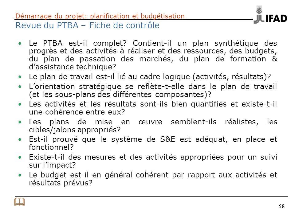 58 Démarrage du projet: planification et budgétisation Revue du PTBA – Fiche de contrôle Le PTBA est-il complet? Contient-il un plan synthétique des p