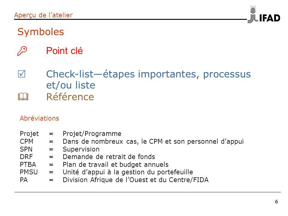 6 66 Aperçu de latelier Point clé Check-listétapes importantes, processus et/ou liste Référence Symboles Abréviations Projet= Projet/Programme CPM= Da
