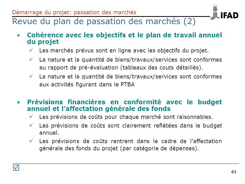 63 Cohérence avec les objectifs et le plan de travail annuel du projet Les marchés prévus sont en ligne avec les objectifs du projet. La nature et la