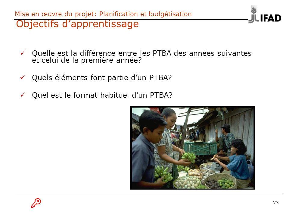 73 Mise en œuvre du projet: Planification et budgétisation Objectifs dapprentissage Quelle est la différence entre les PTBA des années suivantes et ce