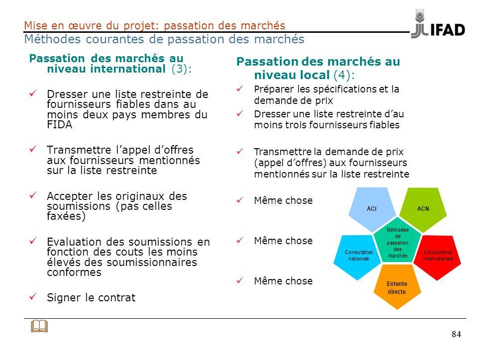 84 Mise en œuvre du projet: passation des marchés Méthodes courantes de passation des marchés Passation des marchés au niveau international (3): Dress