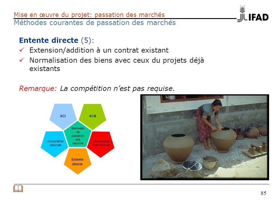 85 Entente directe (5): Extension/addition à un contrat existant Normalisation des biens avec ceux du projets déjà existants Remarque: La compétition