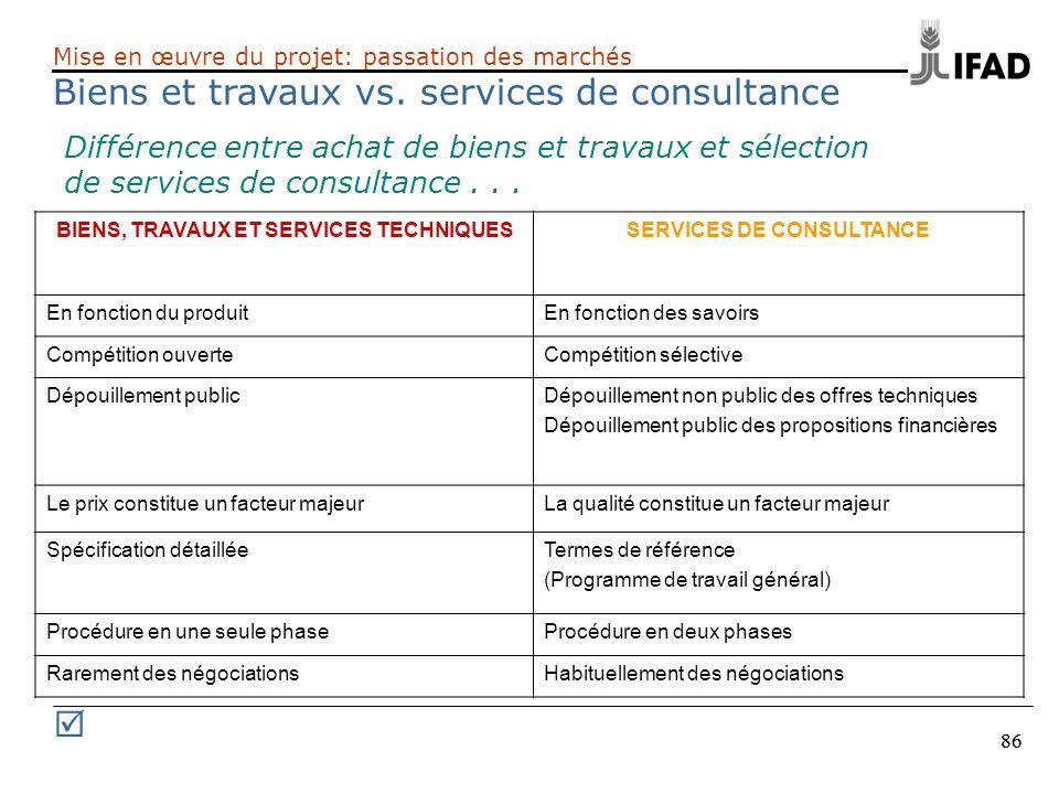 86 Différence entre achat de biens et travaux et sélection de services de consultance... BIENS, TRAVAUX ET SERVICES TECHNIQUESSERVICES DE CONSULTANCE