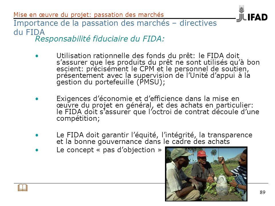 89 Responsabilité fiduciaire du FIDA: Utilisation rationnelle des fonds du prêt: le FIDA doit sassurer que les produits du prêt ne sont utilisés quà b