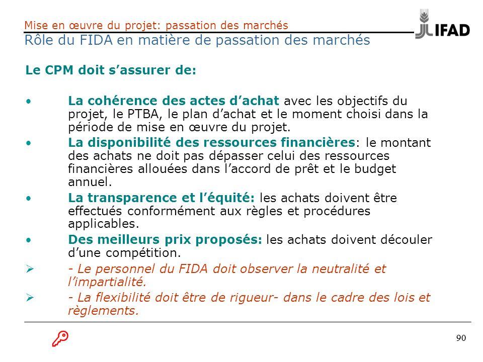 90 Le CPM doit sassurer de: La cohérence des actes dachat avec les objectifs du projet, le PTBA, le plan dachat et le moment choisi dans la période de