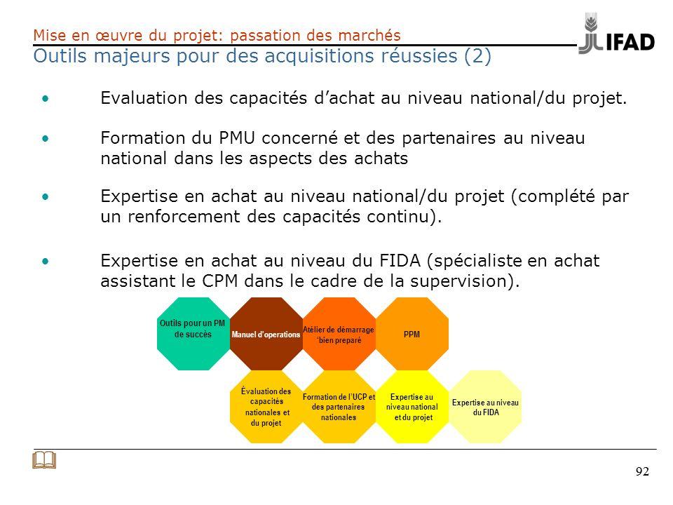 92 Evaluation des capacités dachat au niveau national/du projet. Formation du PMU concerné et des partenaires au niveau national dans les aspects des