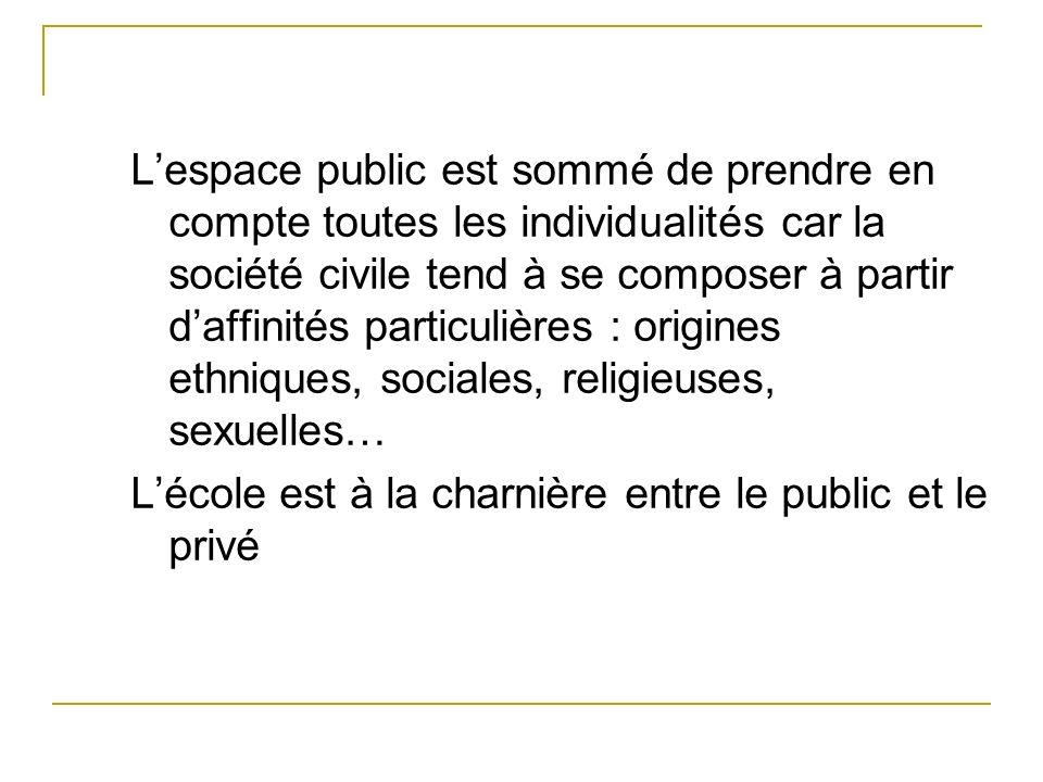 Lespace public est sommé de prendre en compte toutes les individualités car la société civile tend à se composer à partir daffinités particulières : o