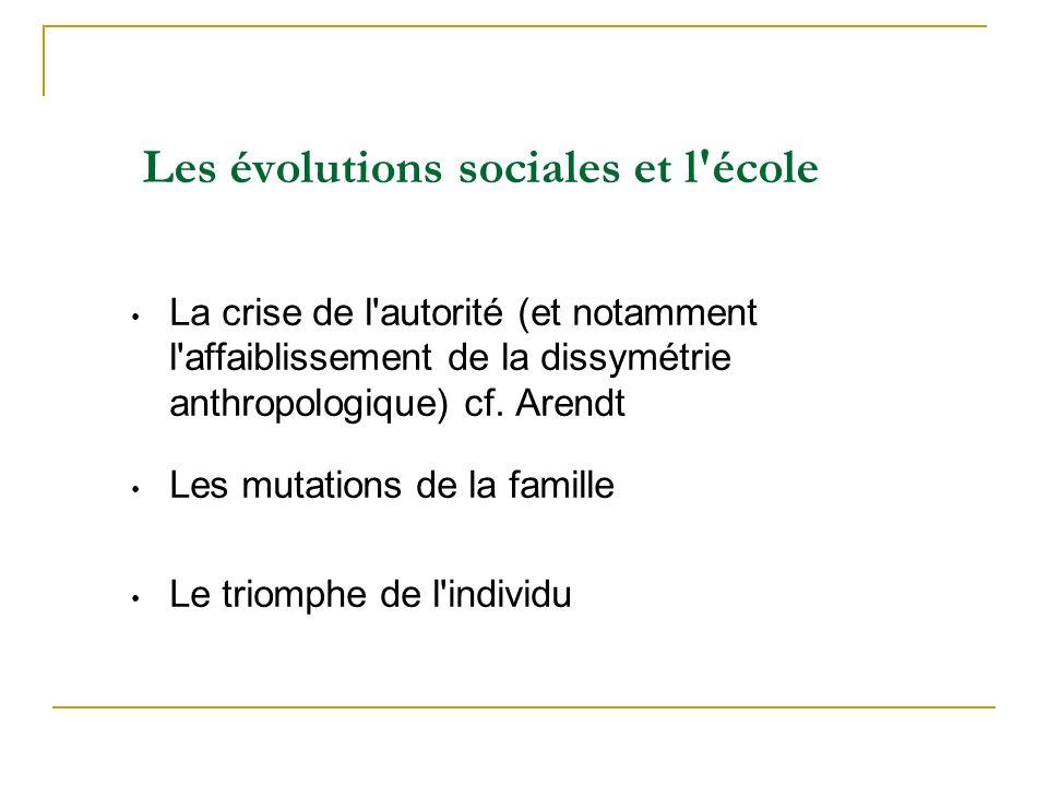 Les évolutions sociales et l école La crise de l autorité (et notamment l affaiblissement de la dissymétrie anthropologique) cf.