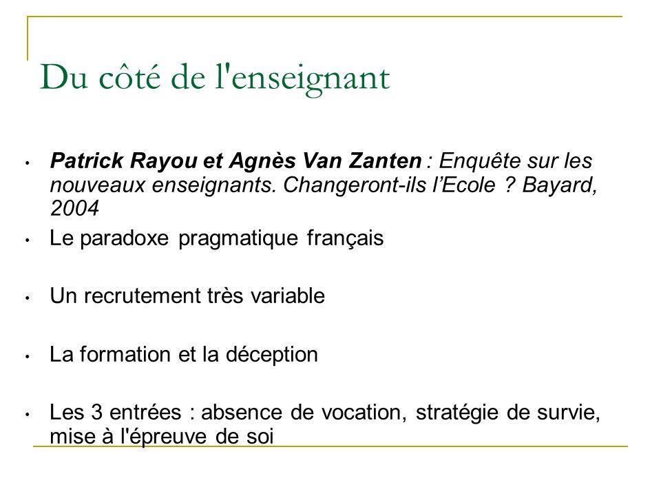 Du côté de l enseignant Patrick Rayou et Agnès Van Zanten : Enquête sur les nouveaux enseignants.