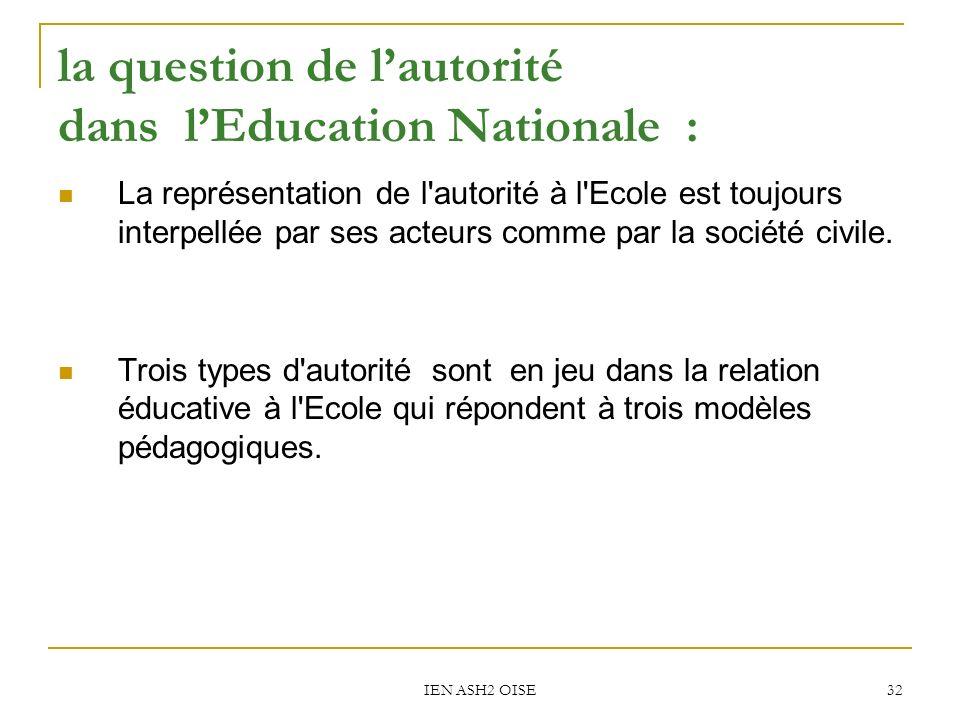 IEN ASH2 OISE 32 la question de lautorité dans lEducation Nationale : La représentation de l autorité à l Ecole est toujours interpellée par ses acteurs comme par la société civile.
