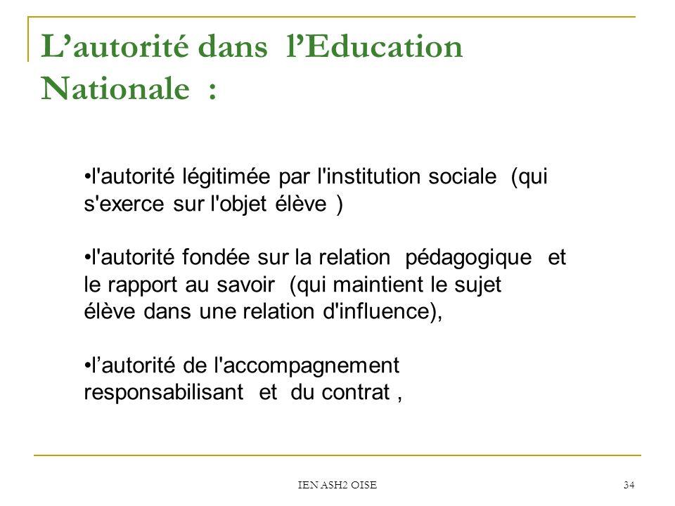 IEN ASH2 OISE 34 Lautorité dans lEducation Nationale : l'autorité légitimée par l'institution sociale (qui s'exerce sur l'objet élève ) l'autorité fon