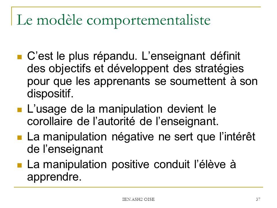 IEN ASH2 OISE 37 Le modèle comportementaliste Cest le plus répandu.