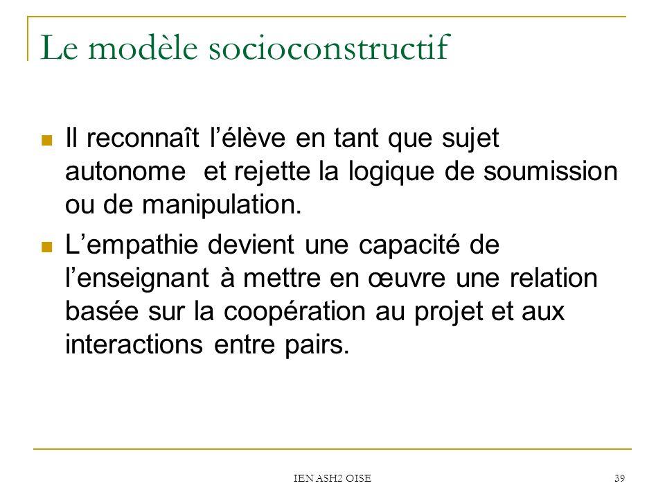 IEN ASH2 OISE 39 Le modèle socioconstructif Il reconnaît lélève en tant que sujet autonome et rejette la logique de soumission ou de manipulation. Lem