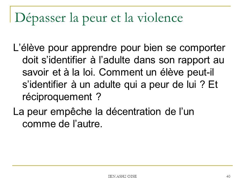 IEN ASH2 OISE 40 Dépasser la peur et la violence Lélève pour apprendre pour bien se comporter doit sidentifier à ladulte dans son rapport au savoir et à la loi.