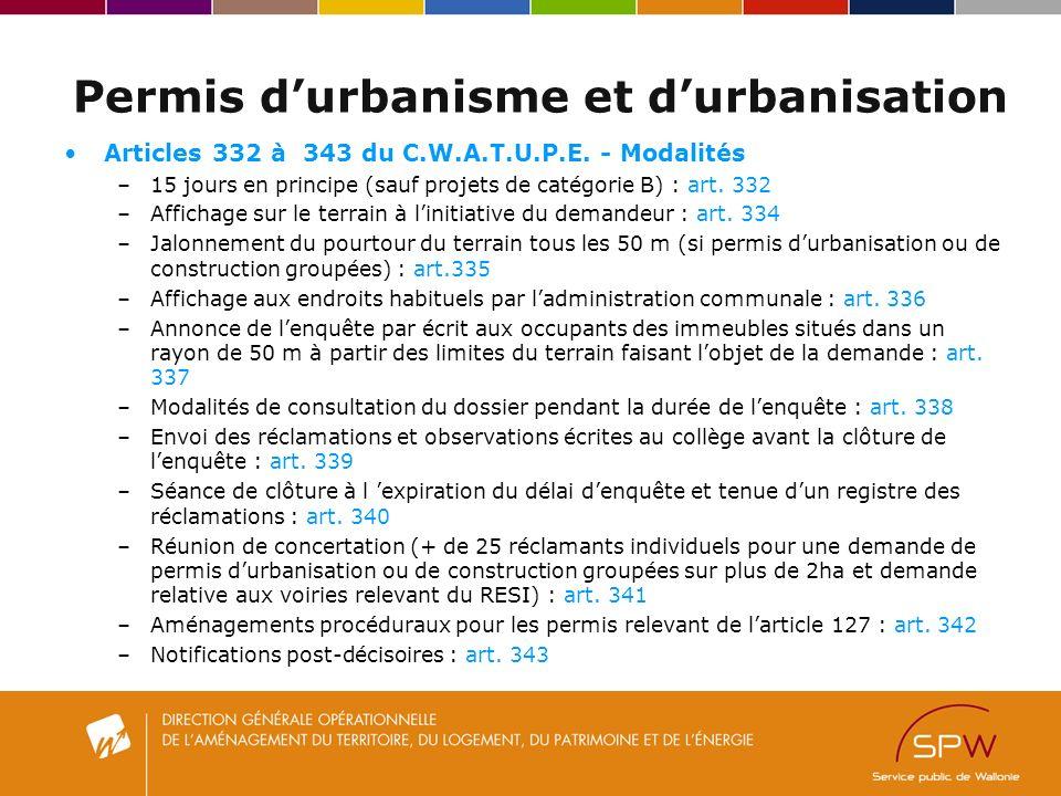 Permis durbanisme et durbanisation Articles 332 à 343 du C.W.A.T.U.P.E.