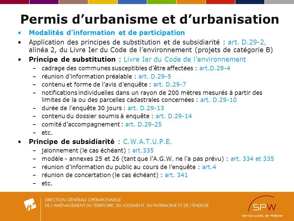 Permis durbanisme et durbanisation Modalités dinformation et de participation Application des principes de substitution et de subsidiarité : art.