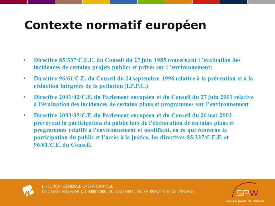 Contexte normatif européen Directive 85/337/C.E.E.
