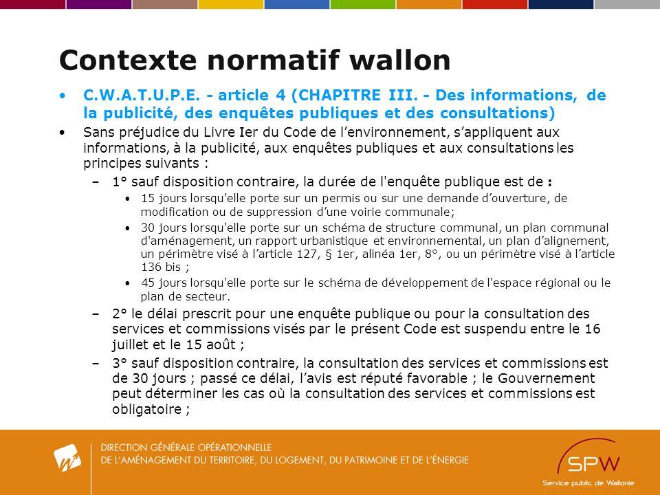 Contexte normatif wallon C.W.A.T.U.P.E.- article 4 (CHAPITRE III.