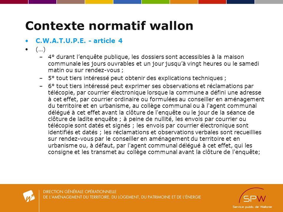 Contexte normatif wallon C.W.A.T.U.P.E.
